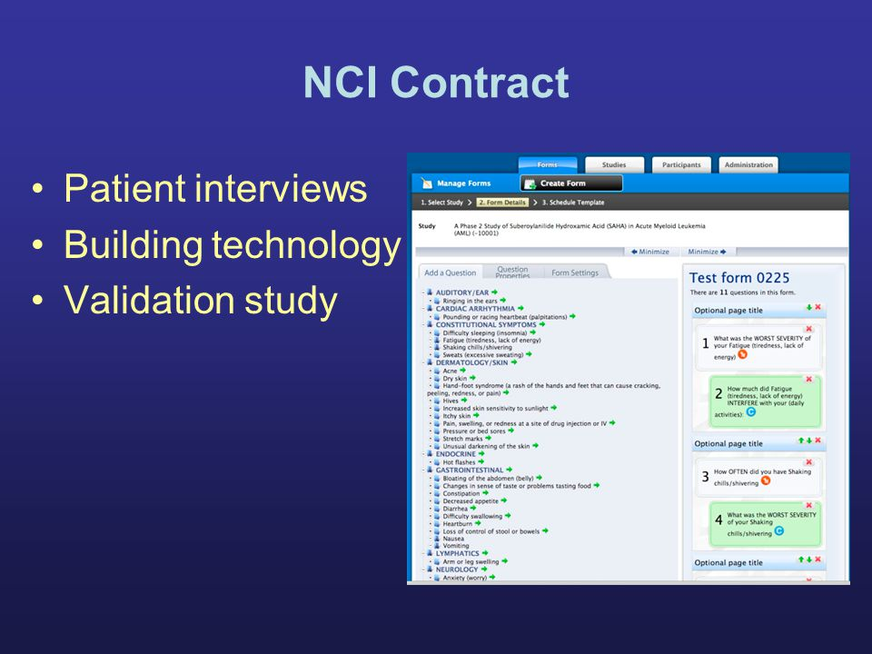 NCI Contract Patient interviews Building technology Validation study
