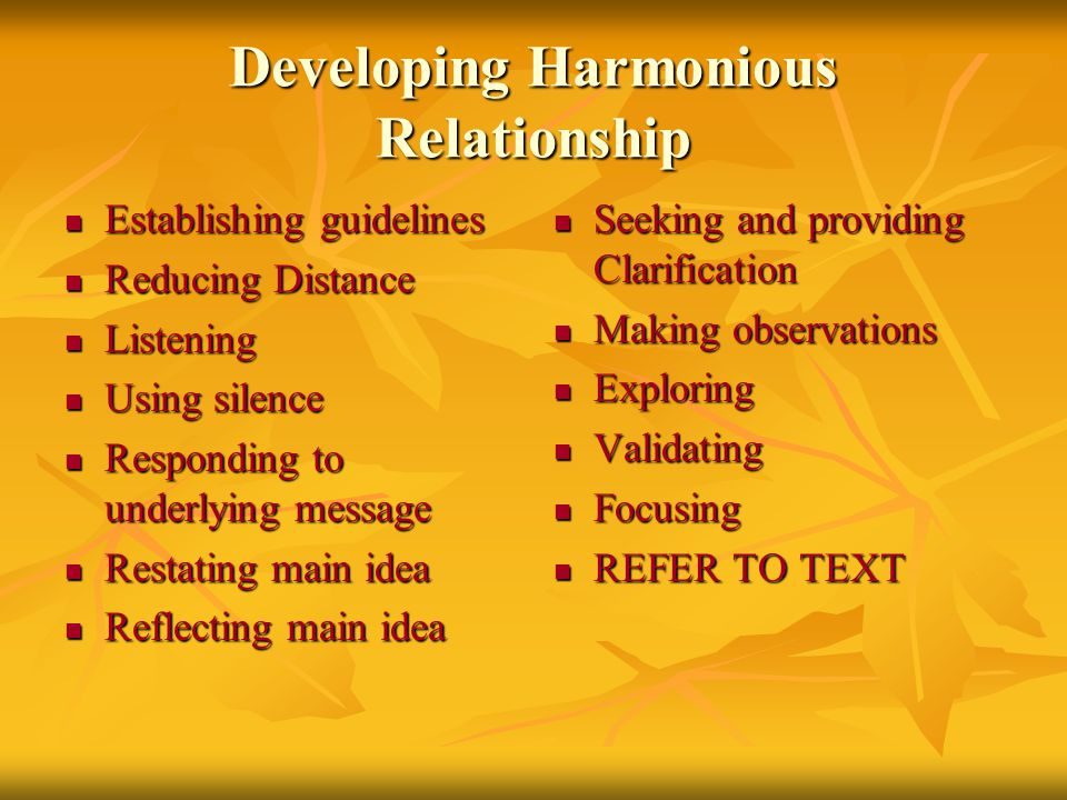 Developing Harmonious Relationship Establishing guidelines Establishing guidelines Reducing Distance Reducing Distance Listening Listening Using silence Using silence Responding to underlying message Responding to underlying message Restating main idea Restating main idea Reflecting main idea Reflecting main idea Seeking and providing Clarification Seeking and providing Clarification Making observations Making observations Exploring Exploring Validating Validating Focusing Focusing REFER TO TEXT REFER TO TEXT