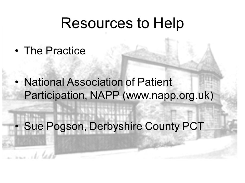 Resources to Help The Practice National Association of Patient Participation, NAPP (www.napp.org.uk) Sue Pogson, Derbyshire County PCT