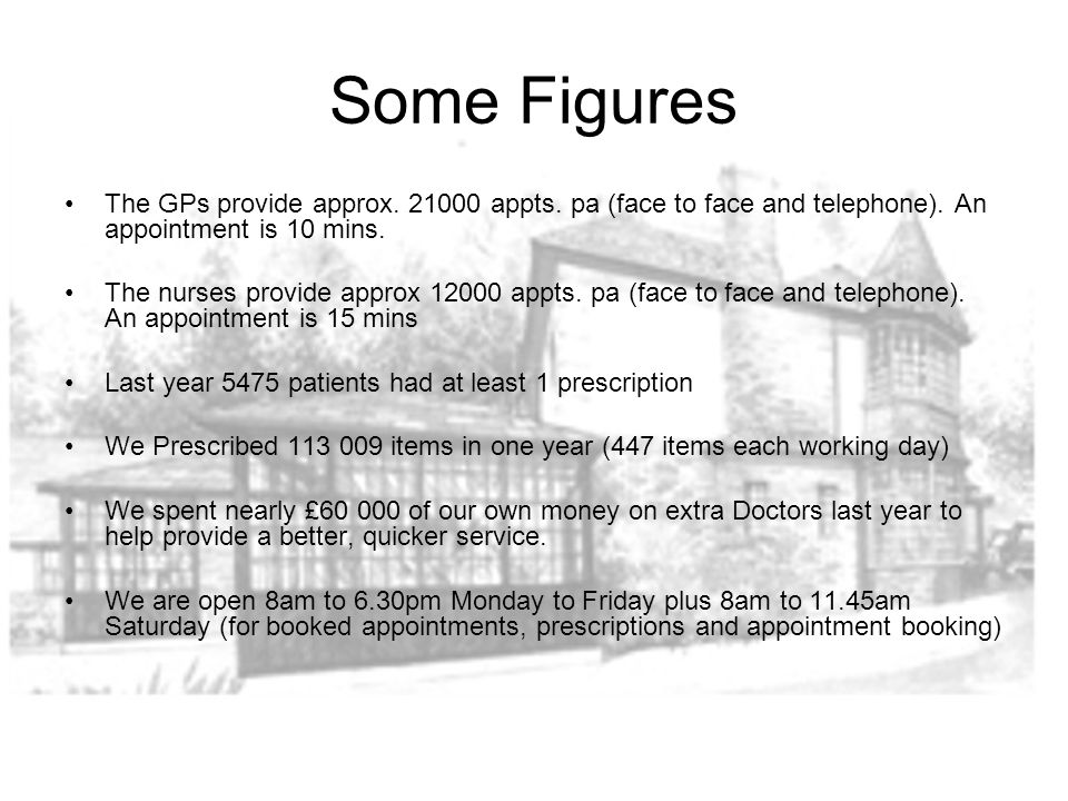 Some Figures The GPs provide approx.21000 appts. pa (face to face and telephone).