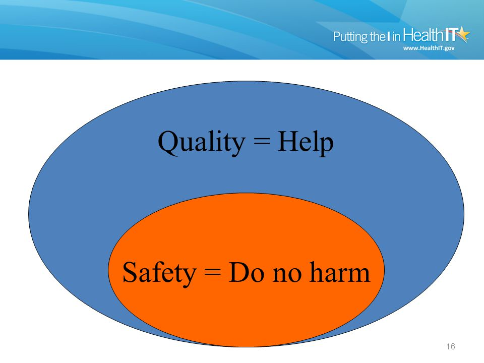 16 Quality = Help Safety = Do no harm