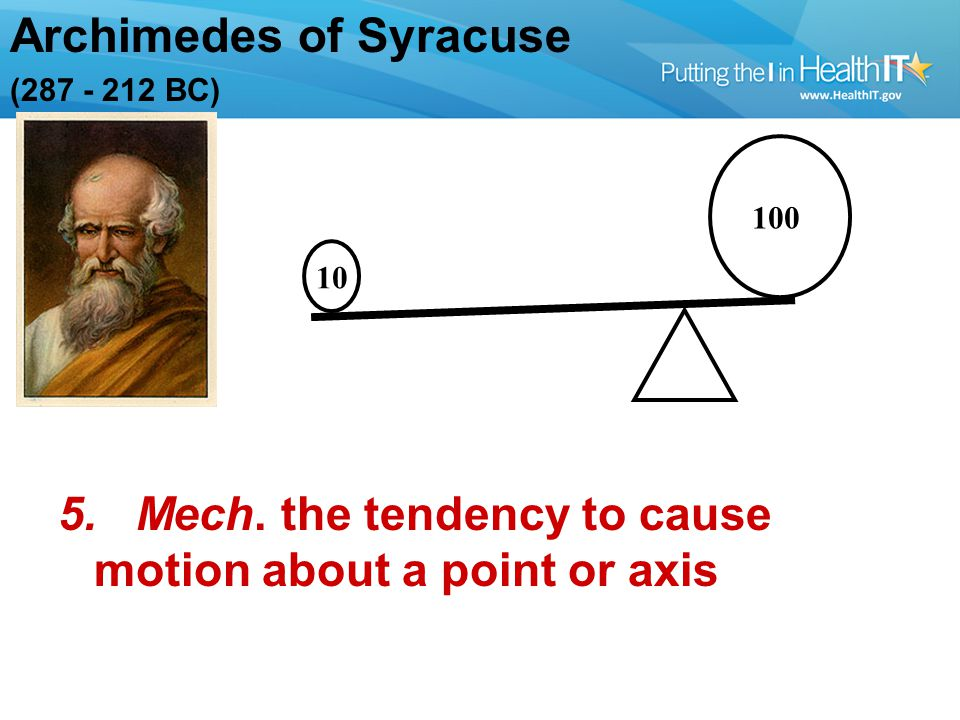 Archimedes of Syracuse (287 - 212 BC) 100 10 5. Mech.