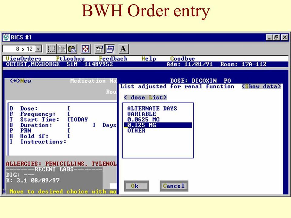 BWH Order entry