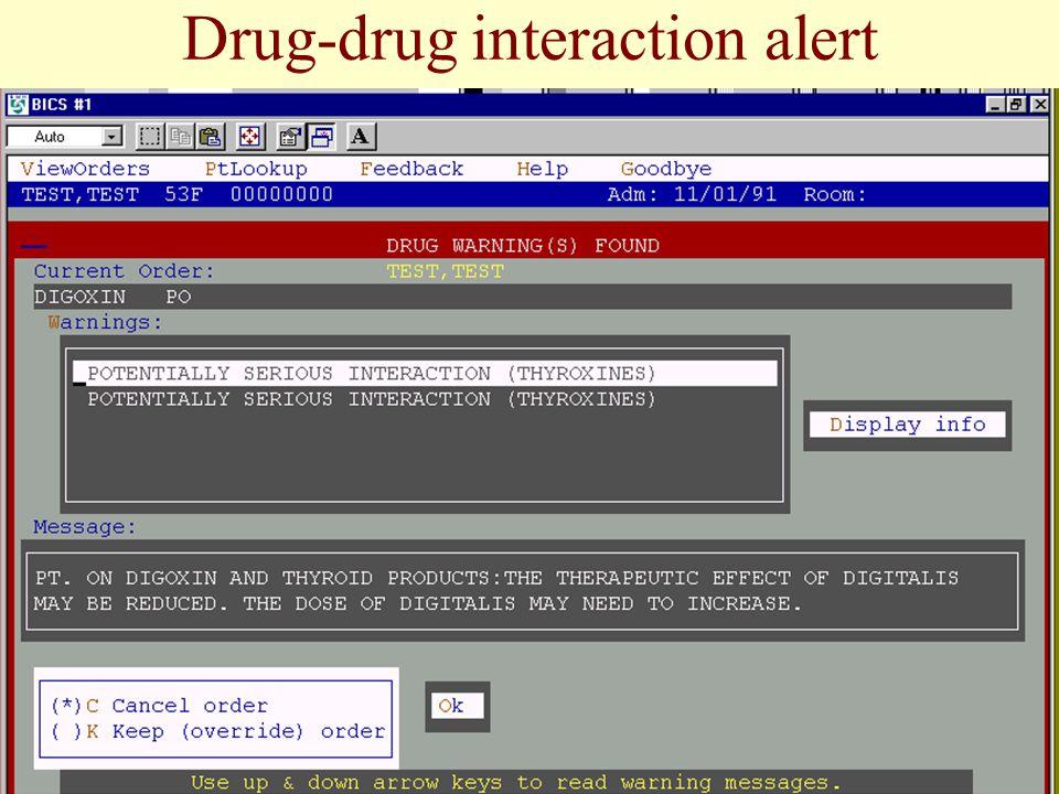 Drug-drug interaction alert
