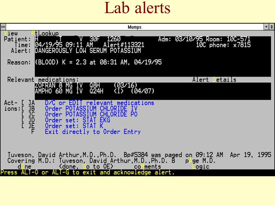 Lab alerts