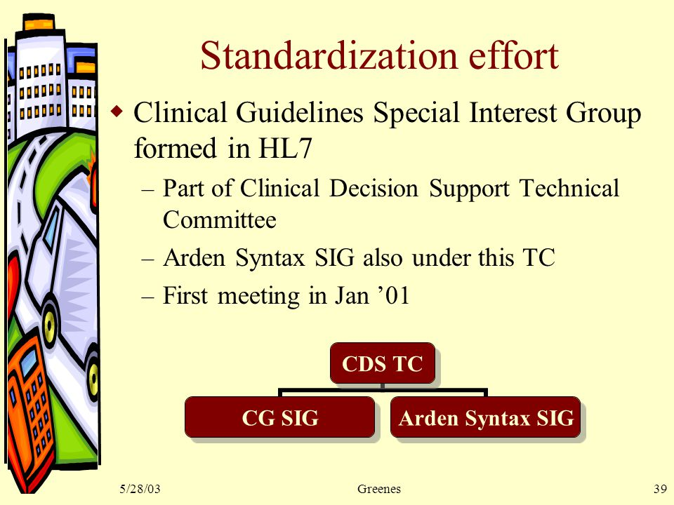 5/28/03Greenes39 Standardization effort  Clinical Guidelines Special Interest Group formed in HL7 – Part of Clinical Decision Support Technical Committee – Arden Syntax SIG also under this TC – First meeting in Jan '01 CDS TC CG SIG Arden Syntax SIG