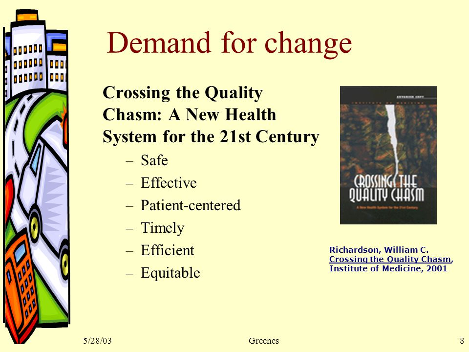 5/28/03Greenes8 Demand for change Crossing the Quality Chasm: A New Health System for the 21st Century – Safe – Effective – Patient-centered – Timely – Efficient – Equitable Richardson, William C.