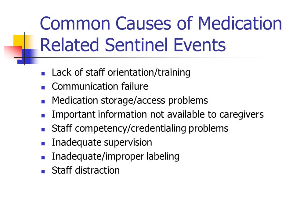 Common Causes of Medication Related Sentinel Events Lack of staff orientation/training Communication failure Medication storage/access problems Important information not available to caregivers Staff competency/credentialing problems Inadequate supervision Inadequate/improper labeling Staff distraction