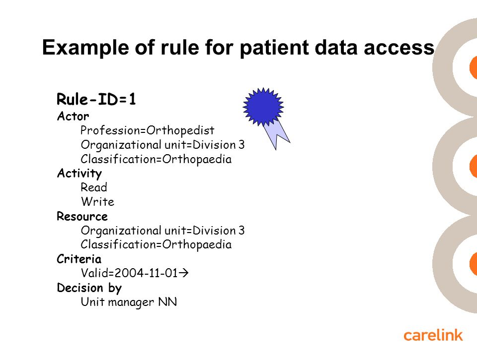 Example of rule for patient data access Rule-ID=1 Actor Profession=Orthopedist Organizational unit=Division 3 Classification=Orthopaedia Activity Read Write Resource Organizational unit=Division 3 Classification=Orthopaedia Criteria Valid=2004-11-01  Decision by Unit manager NN