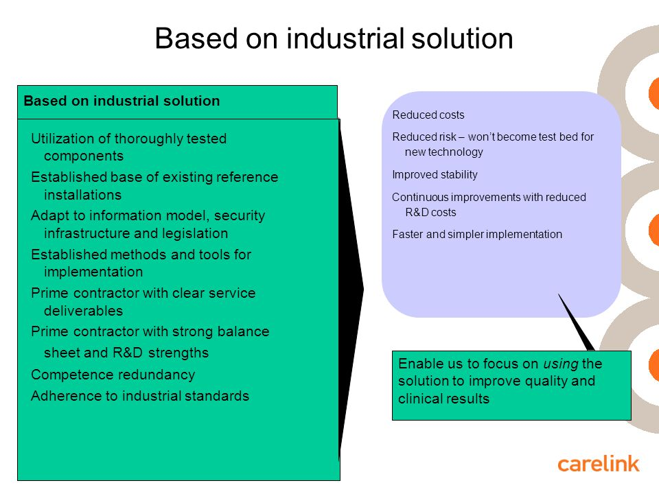Based on industrial solution Utilization of thoroughly tested components Established base of existing reference installations Adapt to information model, security infrastructure and legislation Established methods and tools for implementation Prime contractor with clear service deliverables Prime contractor with strong balance sheet and R&D strengths Competence redundancy Adherence to industrial standards Based on industrial solution Reduced costs Reduced risk – won't become test bed for new technology Improved stability Continuous improvements with reduced R&D costs Faster and simpler implementation Enable us to focus on using the solution to improve quality and clinical results