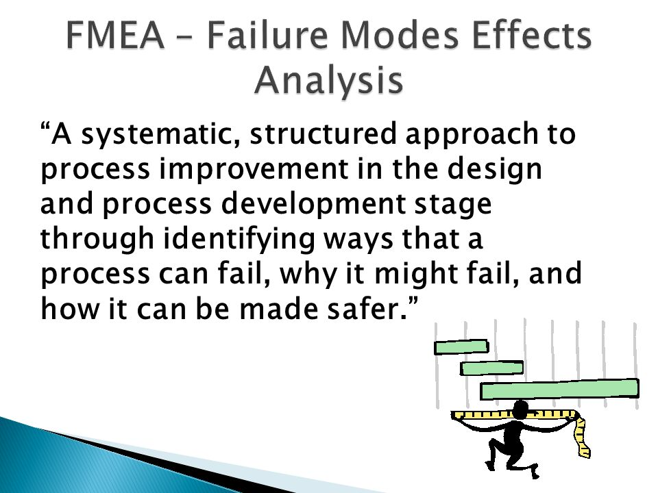 A systematic, structured approach to process improvement in the design and process development stage through identifying ways that a process can fail, why it might fail, and how it can be made safer.