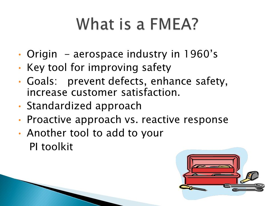Origin - aerospace industry in 1960's Key tool for improving safety Goals: prevent defects, enhance safety, increase customer satisfaction.