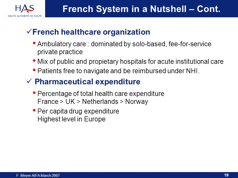 19 F. Meyer AIFA March 2007 French System in a Nutshell – Cont.