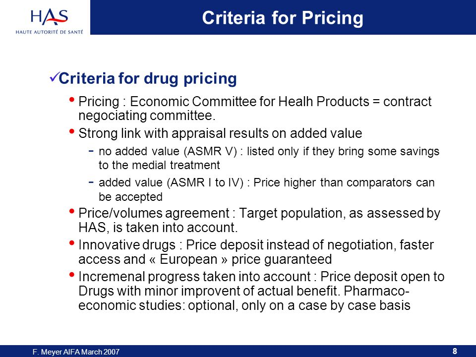 9 F. Meyer AIFA March 2007 SMR: Actual Benefit Actual Benefit of Drugs in 2005 and 2006