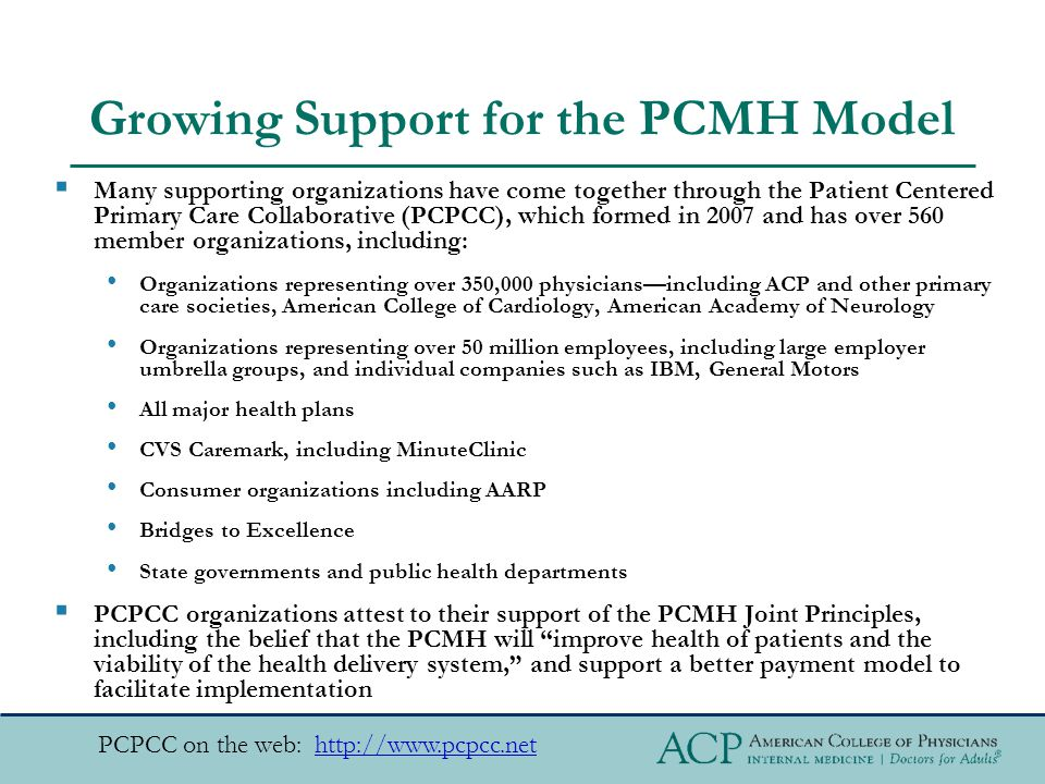 Growing Support for the PCMH Model  Many supporting organizations have come together through the Patient Centered Primary Care Collaborative (PCPCC), which formed in 2007 and has over 560 member organizations, including: Organizations representing over 350,000 physicians—including ACP and other primary care societies, American College of Cardiology, American Academy of Neurology Organizations representing over 50 million employees, including large employer umbrella groups, and individual companies such as IBM, General Motors All major health plans CVS Caremark, including MinuteClinic Consumer organizations including AARP Bridges to Excellence State governments and public health departments  PCPCC organizations attest to their support of the PCMH Joint Principles, including the belief that the PCMH will improve health of patients and the viability of the health delivery system, and support a better payment model to facilitate implementation PCPCC on the web: http://www.pcpcc.nethttp://www.pcpcc.net