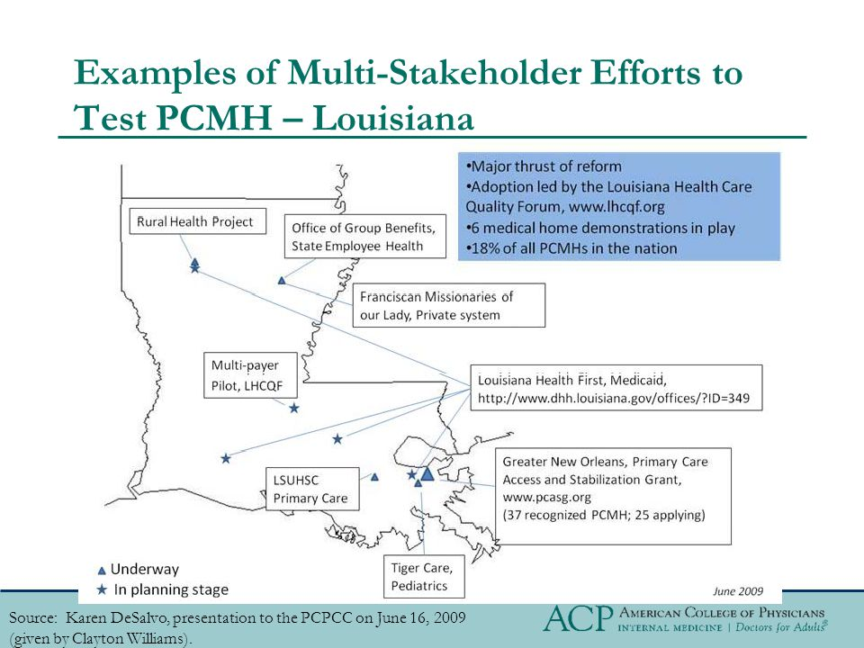Examples of Multi-Stakeholder Efforts to Test PCMH – Louisiana Source: Karen DeSalvo, presentation to the PCPCC on June 16, 2009 (given by Clayton Williams).