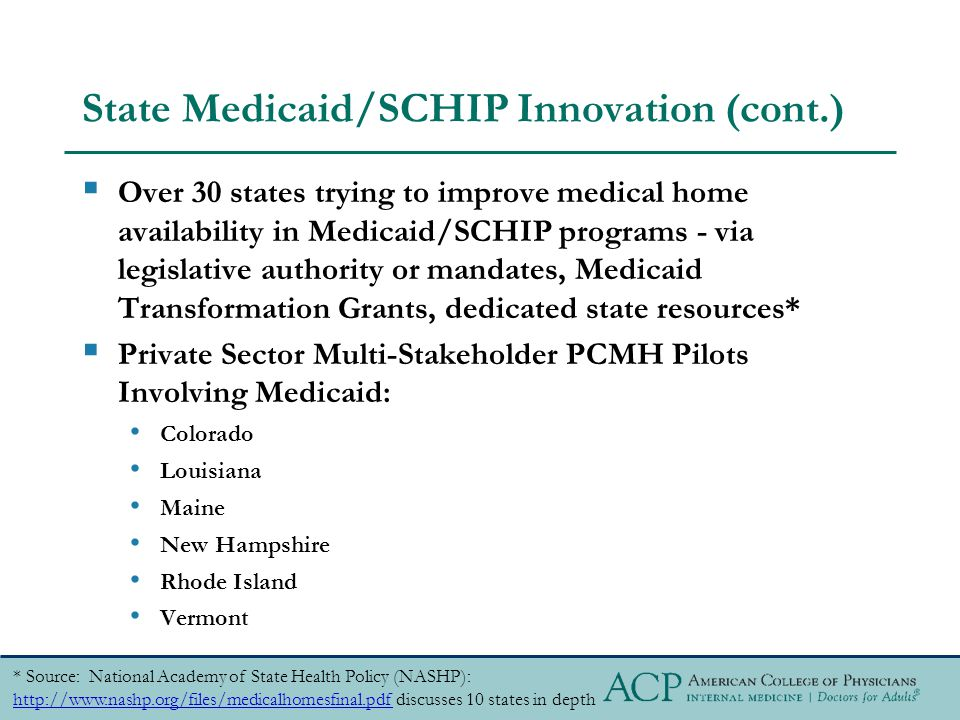 State Medicaid/SCHIP Innovation (cont.)  Over 30 states trying to improve medical home availability in Medicaid/SCHIP programs - via legislative authority or mandates, Medicaid Transformation Grants, dedicated state resources*  Private Sector Multi-Stakeholder PCMH Pilots Involving Medicaid: Colorado Louisiana Maine New Hampshire Rhode Island Vermont * Source: National Academy of State Health Policy (NASHP): http://www.nashp.org/files/medicalhomesfinal.pdf discusses 10 states in depth http://www.nashp.org/files/medicalhomesfinal.pdf