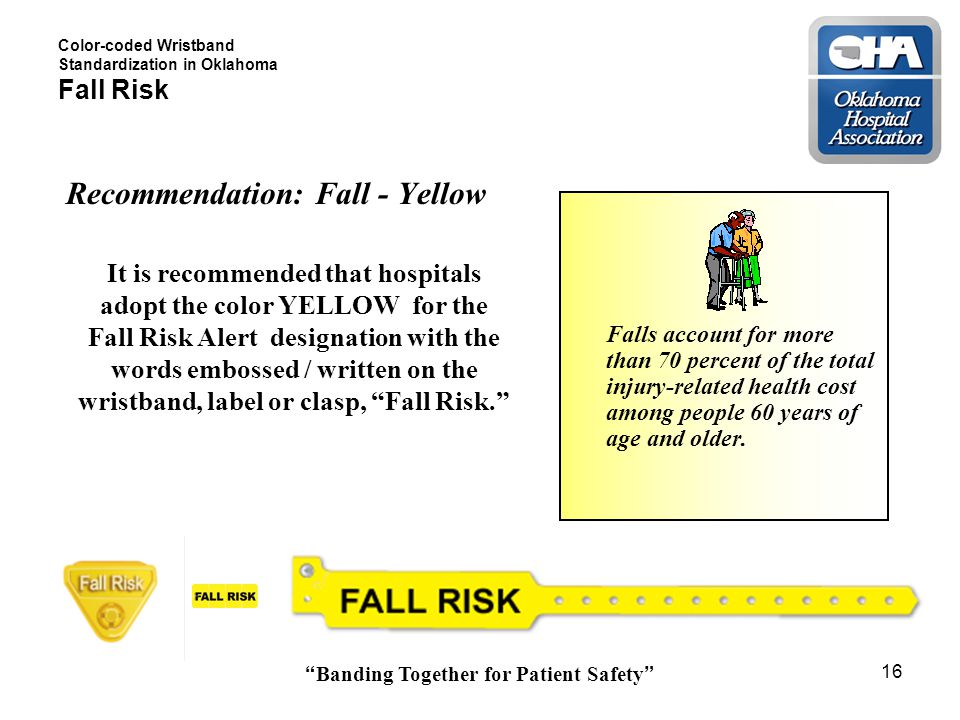 Banding Together for Patient Safety 16 Color-coded Wristband Standardization in Oklahoma Fall Risk Recommendation: Fall - Yellow It is recommended that hospitals adopt the color YELLOW for the Fall Risk Alert designation with the words embossed / written on the wristband, label or clasp, Fall Risk. Allergies Falls account for more than 70 percent of the total injury-related health cost among people 60 years of age and older.