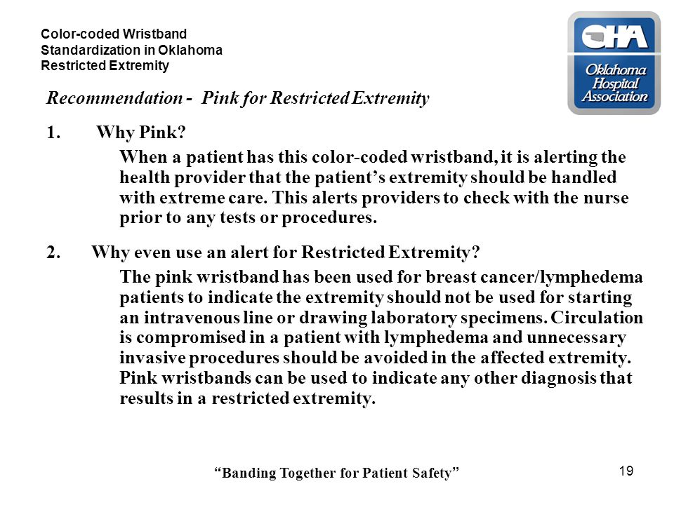 Banding Together for Patient Safety 19 Color-coded Wristband Standardization in Oklahoma Restricted Extremity Recommendation - Pink for Restricted Extremity 1.