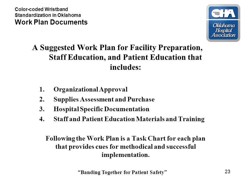 Banding Together for Patient Safety 23 Color-coded Wristband Standardization in Oklahoma Work Plan Documents A Suggested Work Plan for Facility Preparation, Staff Education, and Patient Education that includes: 1.Organizational Approval 2.Supplies Assessment and Purchase 3.Hospital Specific Documentation 4.Staff and Patient Education Materials and Training Following the Work Plan is a Task Chart for each plan that provides cues for methodical and successful implementation.