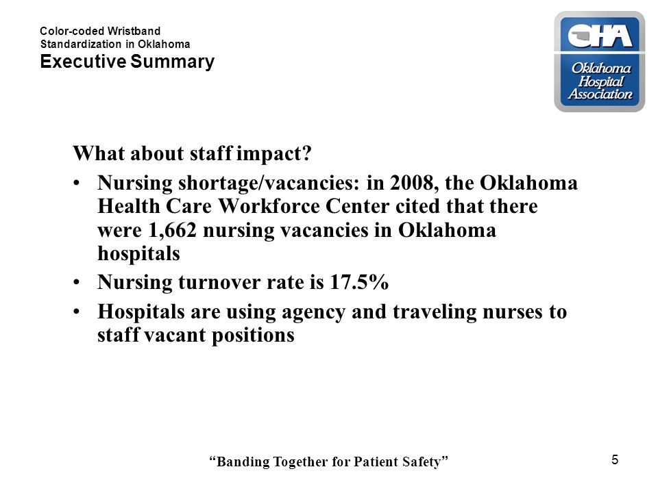 Banding Together for Patient Safety 5 Color-coded Wristband Standardization in Oklahoma Executive Summary What about staff impact.
