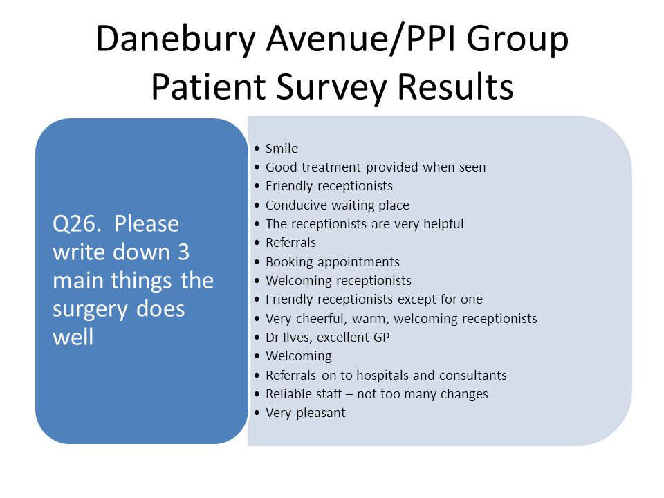 Danebury Avenue/PPI Group Patient Survey Results Smile Good treatment provided when seen Friendly receptionists Conducive waiting place The receptionists are very helpful Referrals Booking appointments Welcoming receptionists Friendly receptionists except for one Very cheerful, warm, welcoming receptionists Dr Ilves, excellent GP Welcoming Referrals on to hospitals and consultants Reliable staff – not too many changes Very pleasant Q26.