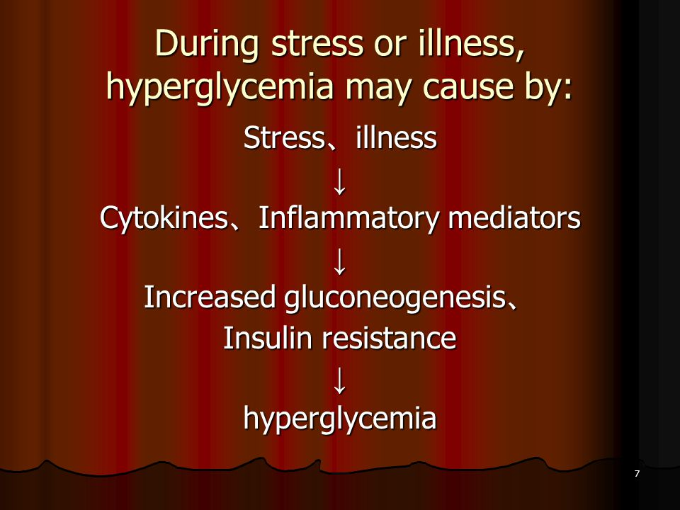 7 During stress or illness, hyperglycemia may cause by: Stress 、 illness ↓ Cytokines 、 Inflammatory mediators ↓ Increased gluconeogenesis 、 Insulin resistance ↓hyperglycemia