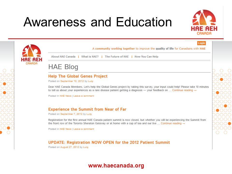 www.haecanada.org Awareness and Education