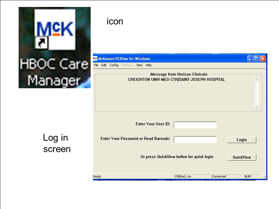 Patient Care. Teaching. Research. Log in screen icon