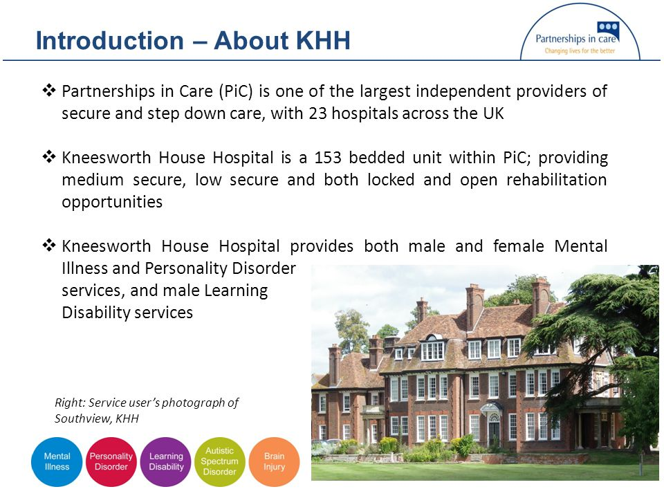 Introduction – About KHH  Partnerships in Care (PiC) is one of the largest independent providers of secure and step down care, with 23 hospitals across the UK  Kneesworth House Hospital is a 153 bedded unit within PiC; providing medium secure, low secure and both locked and open rehabilitation opportunities  Kneesworth House Hospital provides both male and female Mental Illness and Personality Disorder services, and male Learning Disability services Right: Service user's photograph of Southview, KHH