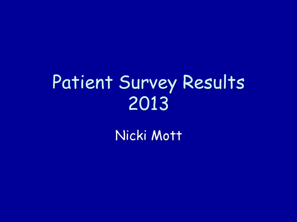 Patient Survey 2013 Patient Survey conducted by IPOS Mori by posting questionnaires to random patients in the practice.