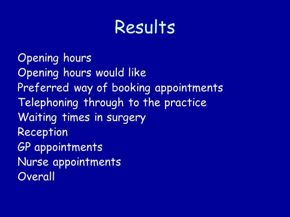 Results Opening hours Opening hours would like Preferred way of booking appointments Telephoning through to the practice Waiting times in surgery Reception GP appointments Nurse appointments Overall