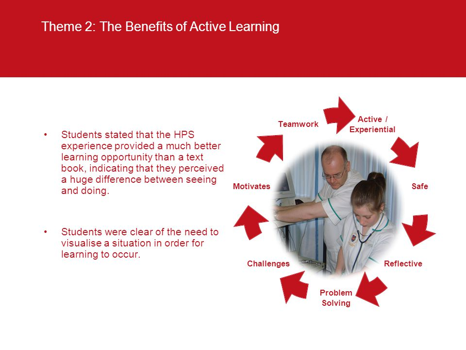 Theme 2: The Benefits of Active Learning Students stated that the HPS experience provided a much better learning opportunity than a text book, indicating that they perceived a huge difference between seeing and doing.