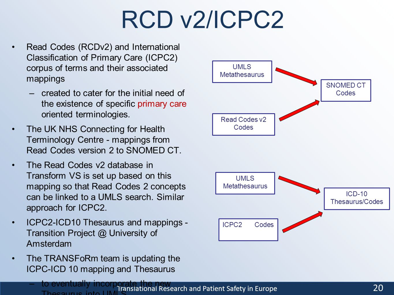 Translational Research and Patient Safety in Europe RCD v2/ICPC2 Read Codes (RCDv2) and International Classification of Primary Care (ICPC2) corpus of terms and their associated mappings –created to cater for the initial need of the existence of specific primary care oriented terminologies.