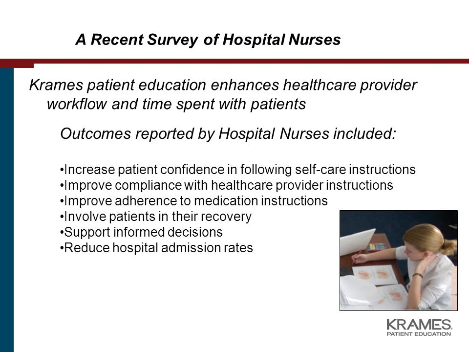 Krames patient education enhances healthcare provider workflow and time spent with patients A Recent Survey of Hospital Nurses Outcomes reported by Hospital Nurses included: Increase patient confidence in following self-care instructions Improve compliance with healthcare provider instructions Improve adherence to medication instructions Involve patients in their recovery Support informed decisions Reduce hospital admission rates