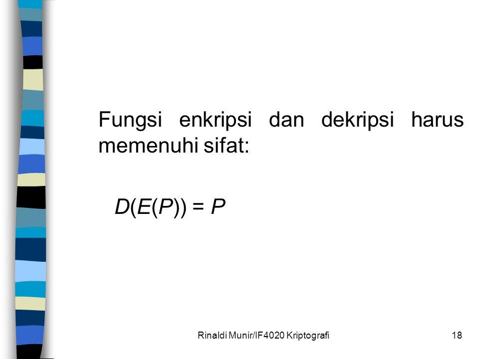 Rinaldi Munir/IF4020 Kriptografi18 Fungsi enkripsi dan dekripsi harus memenuhi sifat: D(E(P)) = P