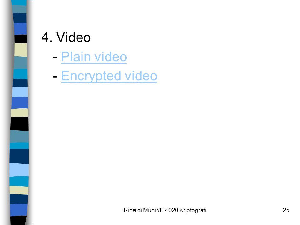 4. Video - Plain videoPlain video - Encrypted videoEncrypted video Rinaldi Munir/IF4020 Kriptografi25
