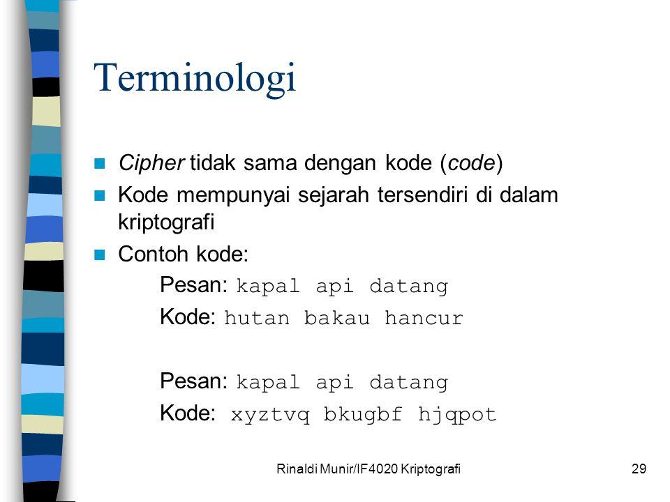 Rinaldi Munir/IF4020 Kriptografi29 Terminologi Cipher tidak sama dengan kode (code) Kode mempunyai sejarah tersendiri di dalam kriptografi Contoh kode