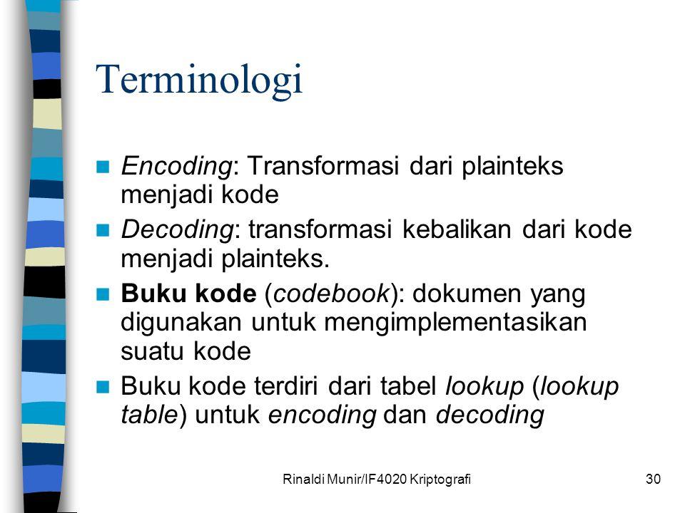 Rinaldi Munir/IF4020 Kriptografi30 Terminologi Encoding: Transformasi dari plainteks menjadi kode Decoding: transformasi kebalikan dari kode menjadi p