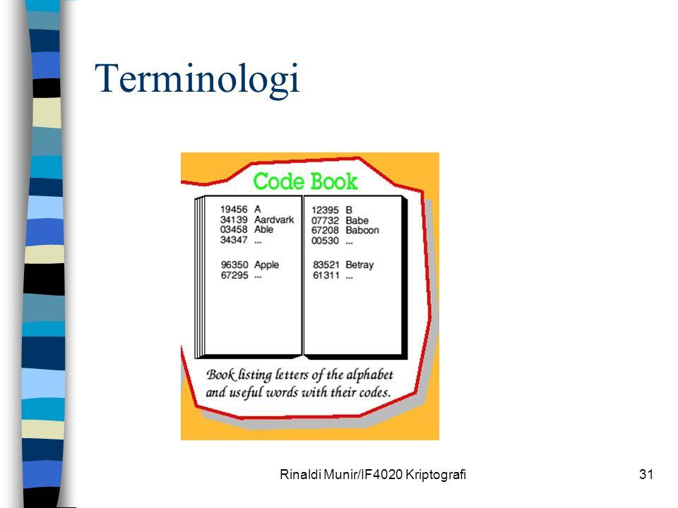 Rinaldi Munir/IF4020 Kriptografi31 Terminologi