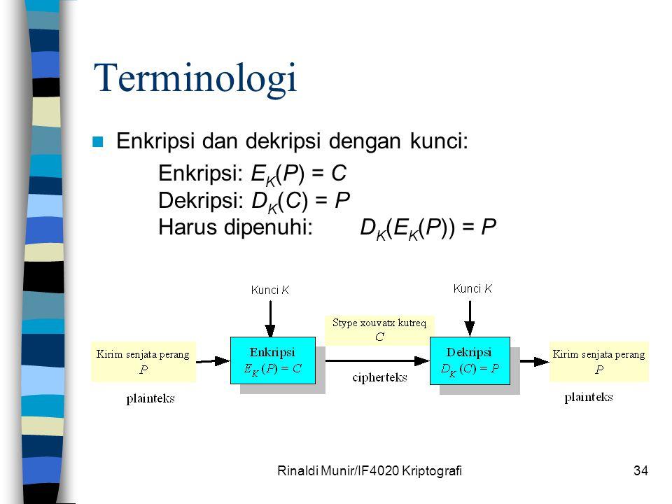 Rinaldi Munir/IF4020 Kriptografi34 Terminologi Enkripsi dan dekripsi dengan kunci: Enkripsi: E K (P) = C Dekripsi: D K (C) = P Harus dipenuhi:D K (E K