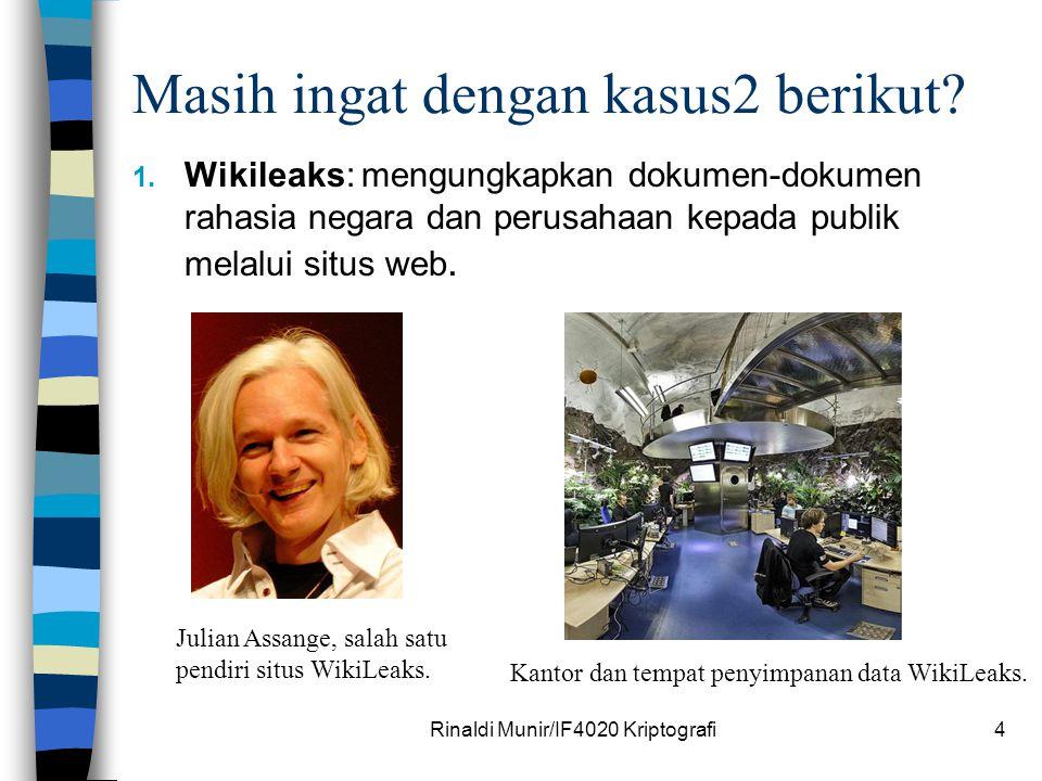 Masih ingat dengan kasus2 berikut? 1. Wikileaks: mengungkapkan dokumen-dokumen rahasia negara dan perusahaan kepada publik melalui situs web. Rinaldi