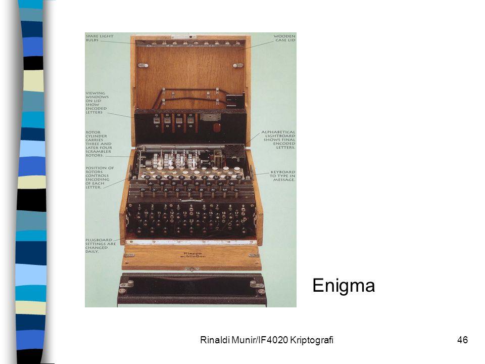 Rinaldi Munir/IF4020 Kriptografi46 Enigma