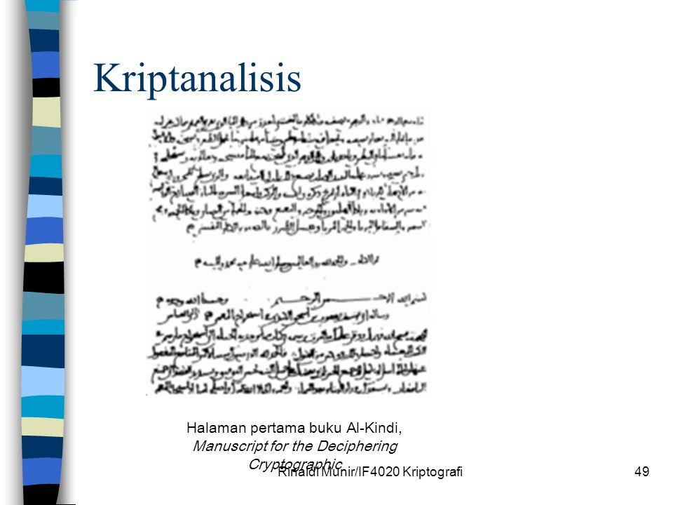 Rinaldi Munir/IF4020 Kriptografi49 Kriptanalisis Halaman pertama buku Al-Kindi, Manuscript for the Deciphering Cryptographic
