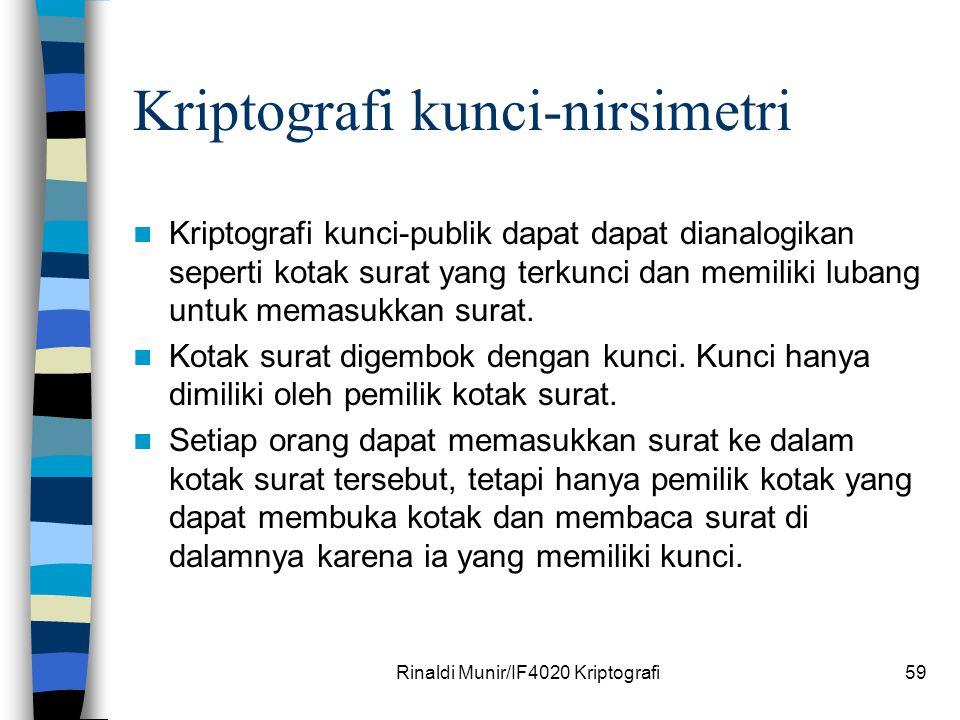 Rinaldi Munir/IF4020 Kriptografi59 Kriptografi kunci-nirsimetri Kriptografi kunci-publik dapat dapat dianalogikan seperti kotak surat yang terkunci da