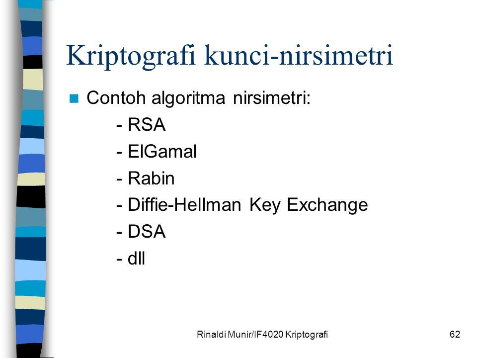 Rinaldi Munir/IF4020 Kriptografi62 Kriptografi kunci-nirsimetri Contoh algoritma nirsimetri: - RSA - ElGamal - Rabin - Diffie-Hellman Key Exchange - D
