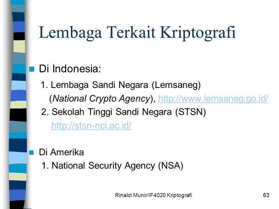 Lembaga Terkait Kriptografi Di Indonesia: 1. Lembaga Sandi Negara (Lemsaneg) (National Crypto Agency), http://www.lemsaneg.go.id/http://www.lemsaneg.g