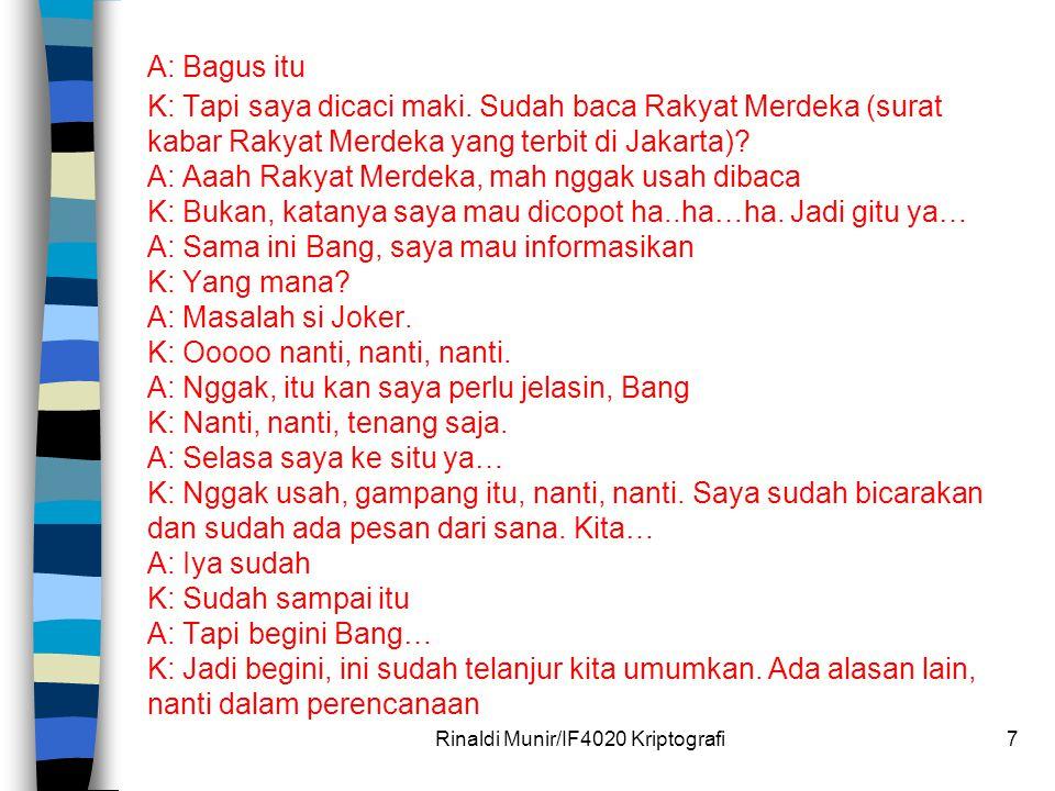 A: Bagus itu K: Tapi saya dicaci maki. Sudah baca Rakyat Merdeka (surat kabar Rakyat Merdeka yang terbit di Jakarta)? A: Aaah Rakyat Merdeka, mah ngga