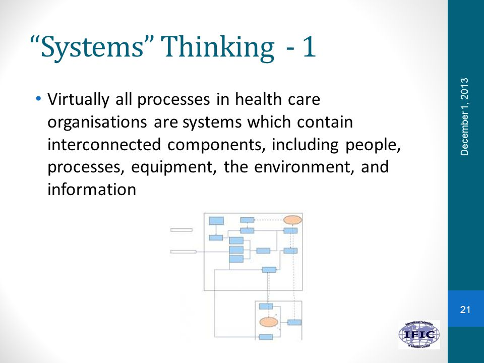 Systems Thinking - 1 Virtually all processes in health care organisations are systems which contain interconnected components, including people, processes, equipment, the environment, and information 21 December 1, 2013