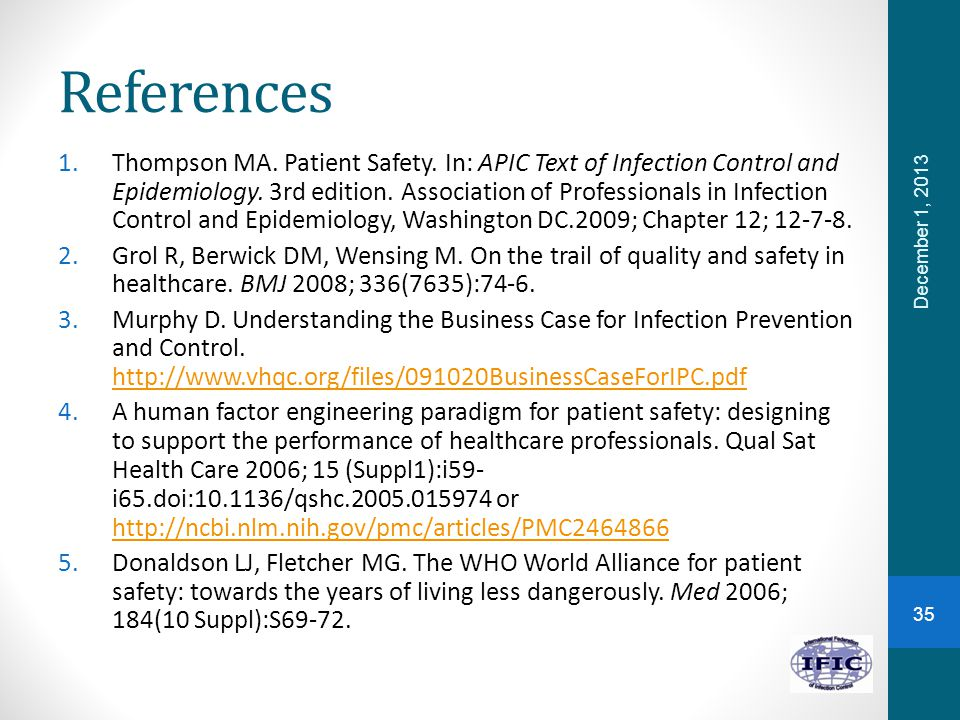 References 1.Thompson MA. Patient Safety. In: APIC Text of Infection Control and Epidemiology.